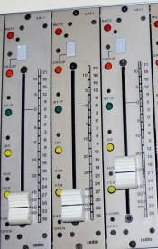 CADAC E Series Channel faders and meters. Library Picture